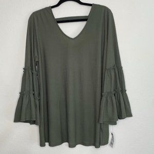 Ny Collection Moss Green Swing Blouse Size 1x